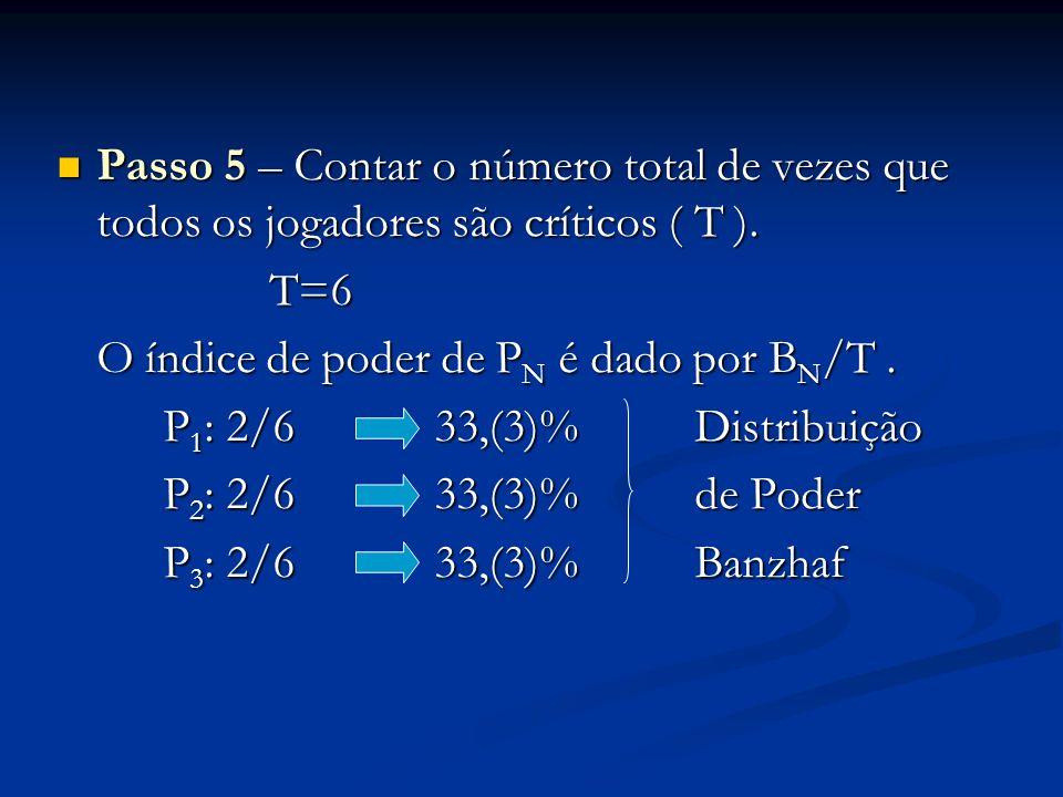 Passo 5 – Contar o número total de vezes que todos os jogadores são críticos ( T ). Passo 5 – Contar o número total de vezes que todos os jogadores sã