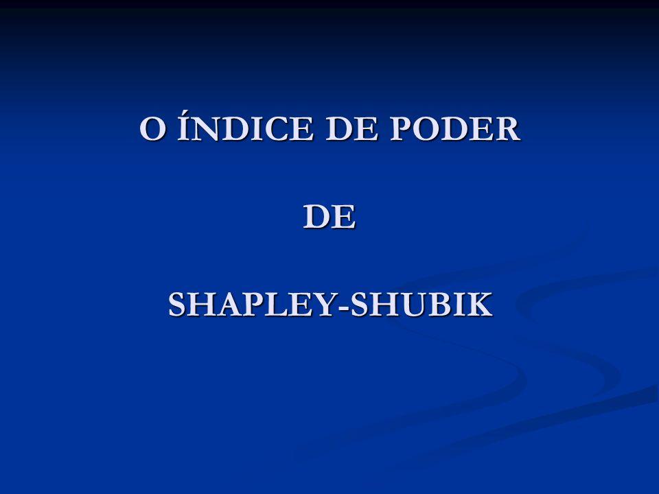 O ÍNDICE DE PODER DE SHAPLEY-SHUBIK