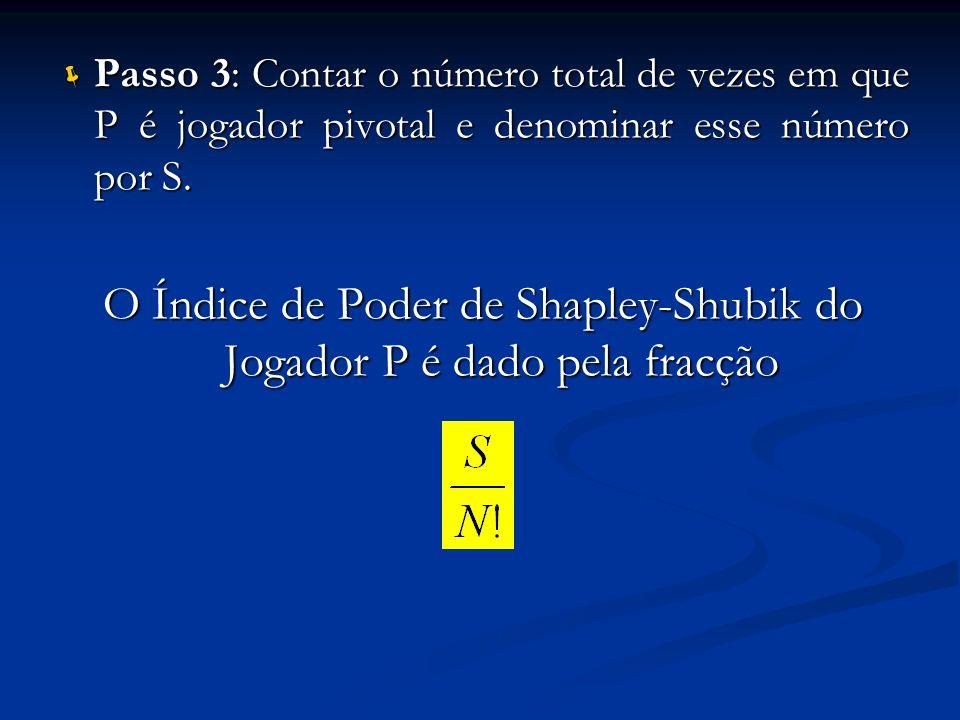 Passo 3: Contar o número total de vezes em que P é jogador pivotal e denominar esse número por S. Passo 3: Contar o número total de vezes em que P é j
