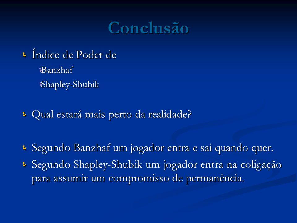 Conclusão Índice de Poder de Banzhaf Shapley-Shubik Qual estará mais perto da realidade? Segundo Banzhaf um jogador entra e sai quando quer. Segundo S