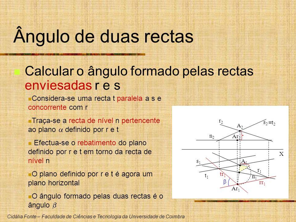 Cidália Fonte – Faculdade de Ciências e Tecnologia da Universidade de Coimbra Ângulo de duas rectas Calcular o ângulo formado pelas rectas enviesadas
