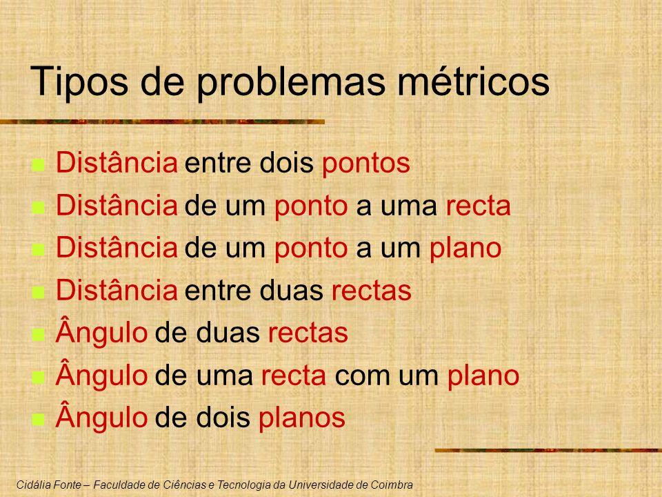 Cidália Fonte – Faculdade de Ciências e Tecnologia da Universidade de Coimbra Tipos de problemas métricos Distância entre dois pontos Distância de um