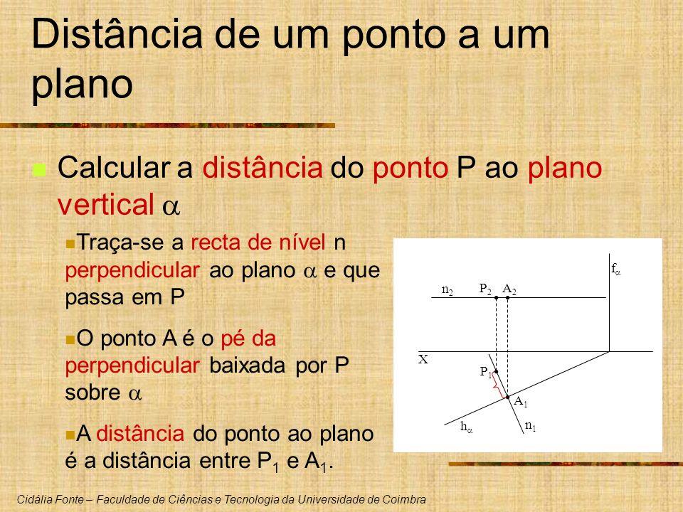 Cidália Fonte – Faculdade de Ciências e Tecnologia da Universidade de Coimbra X h f P1P1 P2P2 Distância de um ponto a um plano Calcular a distância do