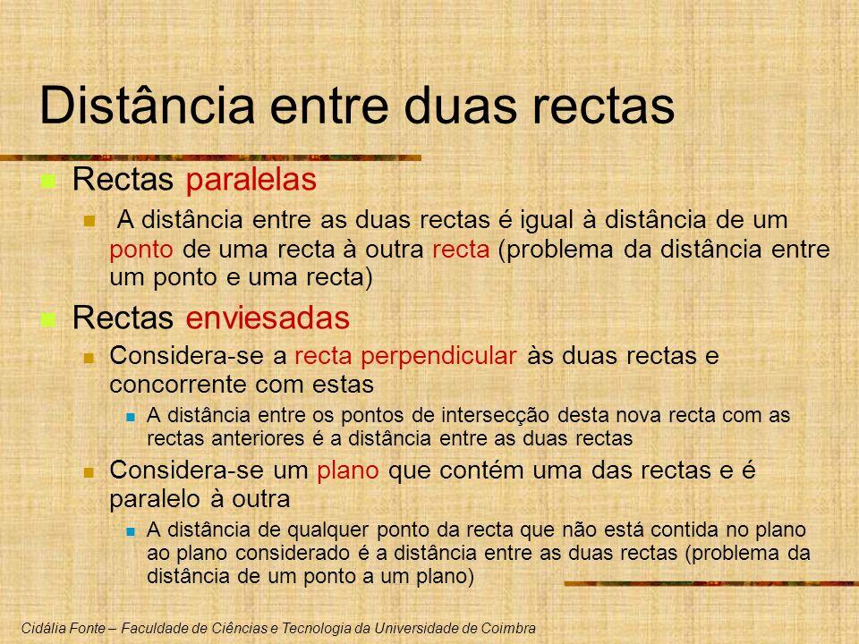 Cidália Fonte – Faculdade de Ciências e Tecnologia da Universidade de Coimbra Distância entre duas rectas Rectas paralelas A distância entre as duas r