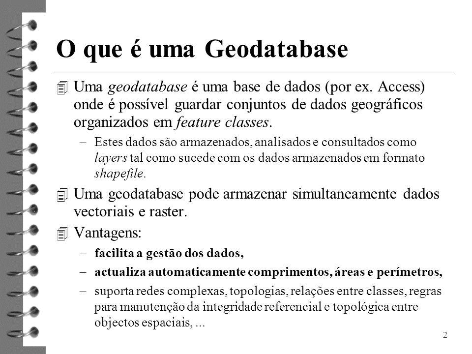 2 O que é uma Geodatabase 4 Uma geodatabase é uma base de dados (por ex. Access) onde é possível guardar conjuntos de dados geográficos organizados em