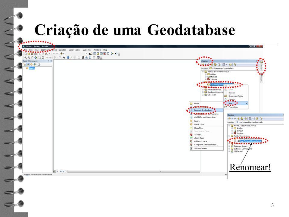 3 Criação de uma Geodatabase Renomear!