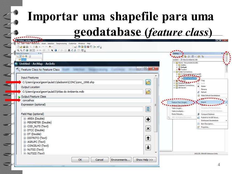4 Importar uma shapefile para uma geodatabase (feature class)