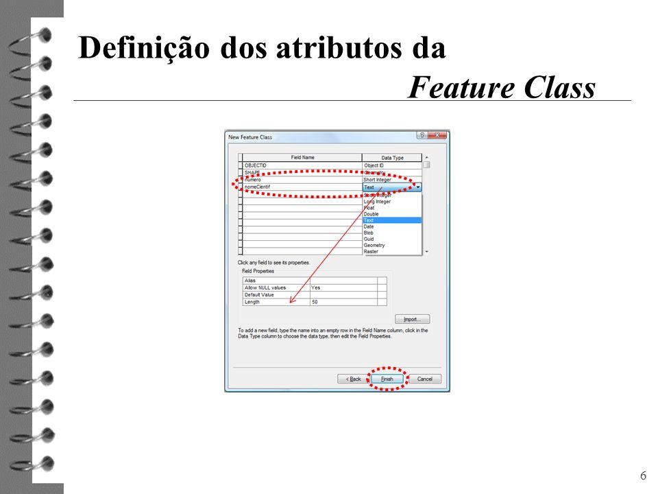 6 Definição dos atributos da Feature Class