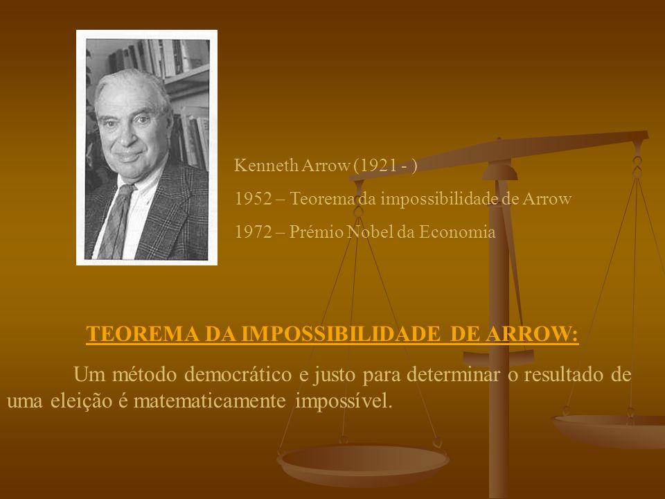 CRITÉRIO DA MAIORIA: Se uma escolha obtiver a maioria das colocações em primeiro lugar numa eleição, então essa escolha deverá ser a eleita.