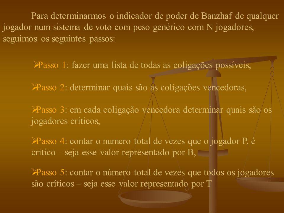 O poder do jogador é proporcional ao número de coligações para as quais ele é critico, isto é, quanto mais frequentemente um jogador é critico mais poder ele tem.