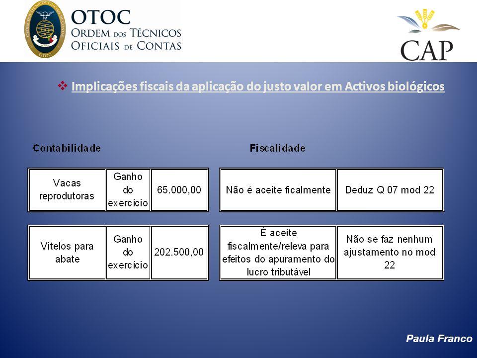 Paula Franco Implicações fiscais da aplicação do justo valor em Activos biológicos