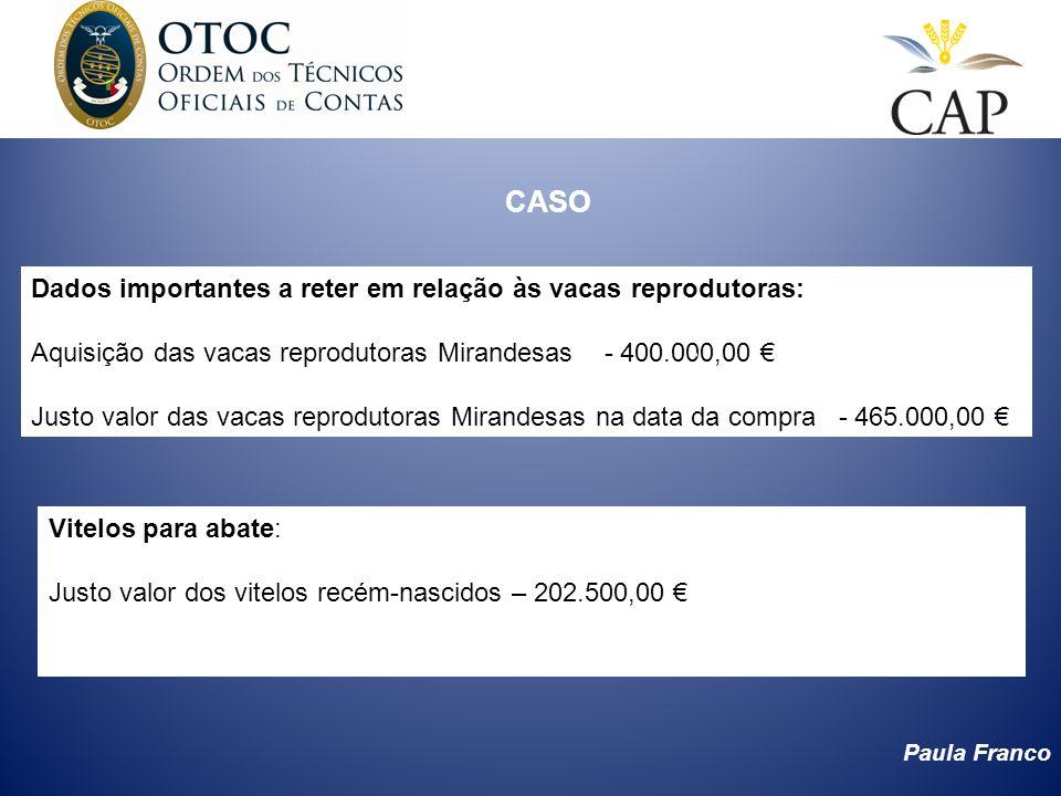 Paula Franco CASO Dados importantes a reter em relação às vacas reprodutoras: Aquisição das vacas reprodutoras Mirandesas - 400.000,00 Justo valor das