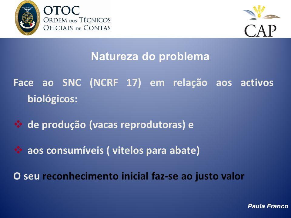 Paula Franco Natureza do problema Face ao SNC (NCRF 17) em relação aos activos biológicos: de produção (vacas reprodutoras) e aos consumíveis ( vitelo