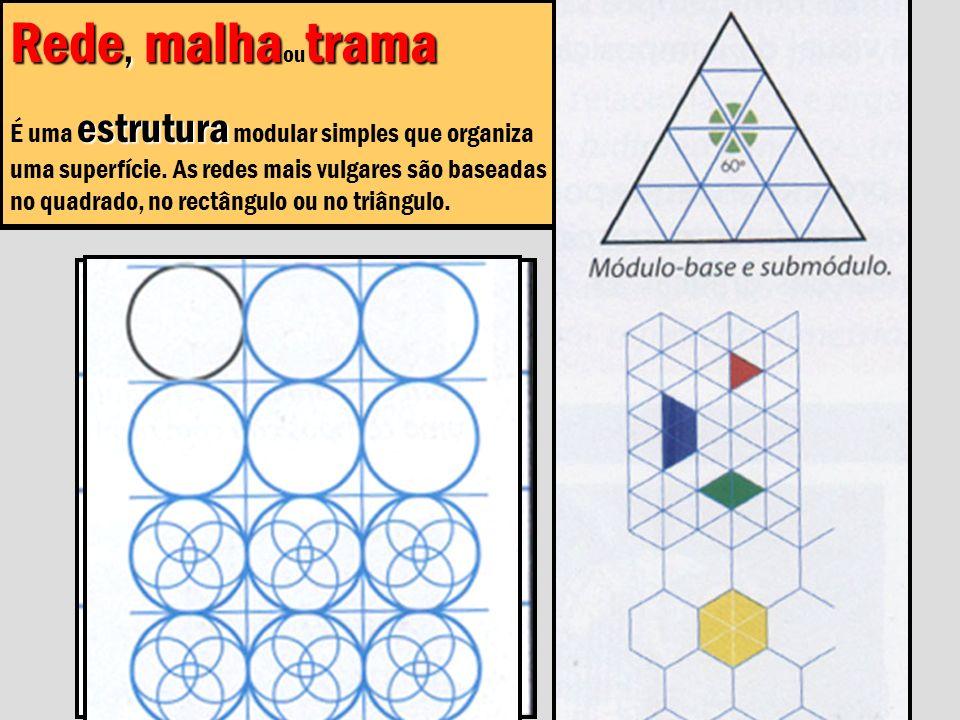 Rede, malhatrama Rede, malha ou trama estrutura É uma estrutura modular simples que organiza uma superfície. As redes mais vulgares são baseadas no qu