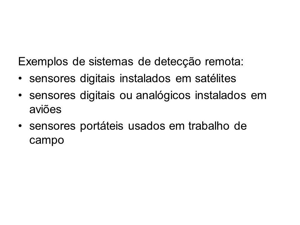 Exemplos de sistemas de detecção remota: sensores digitais instalados em satélites sensores digitais ou analógicos instalados em aviões sensores portá