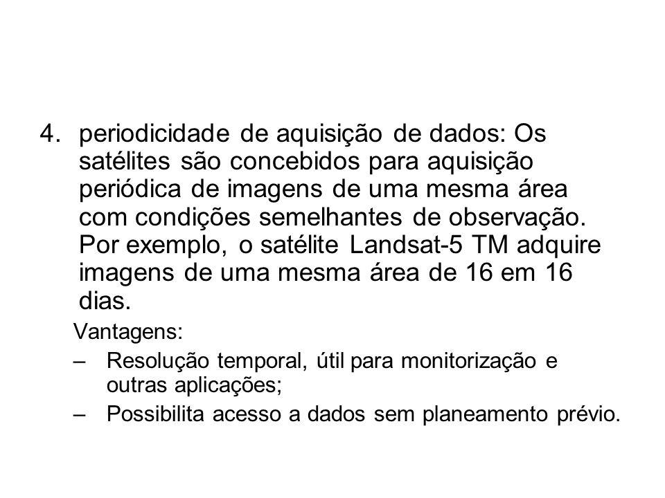 4.periodicidade de aquisição de dados: Os satélites são concebidos para aquisição periódica de imagens de uma mesma área com condições semelhantes de