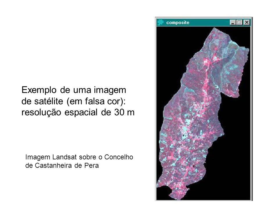 Exemplo de uma imagem de satélite (em falsa cor): resolução espacial de 30 m Imagem Landsat sobre o Concelho de Castanheira de Pera