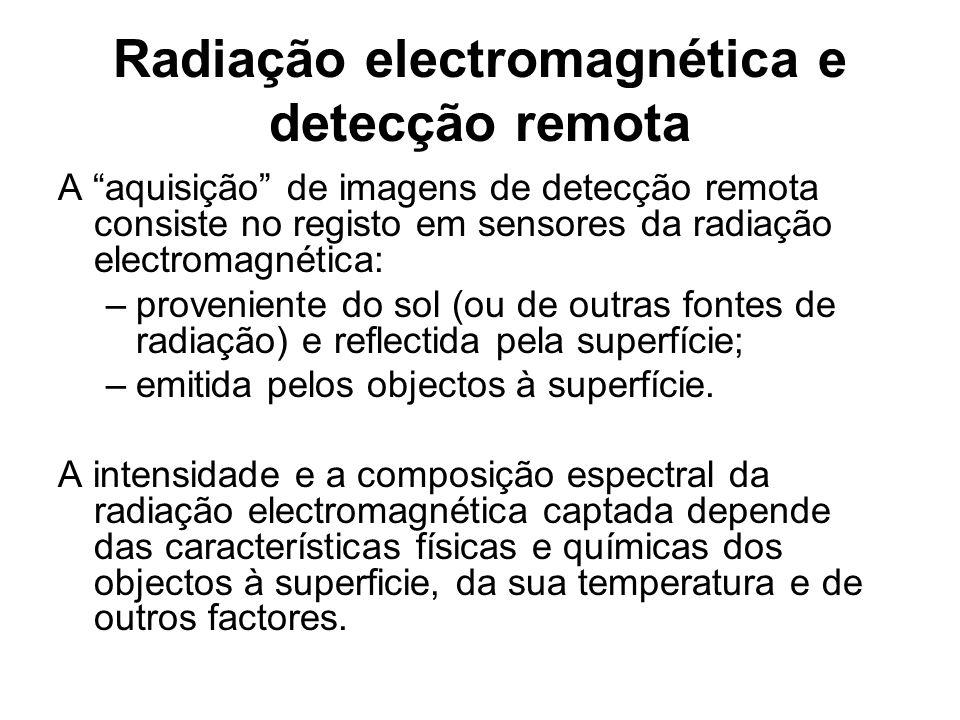Radiação electromagnética e detecção remota A aquisição de imagens de detecção remota consiste no registo em sensores da radiação electromagnética: –p