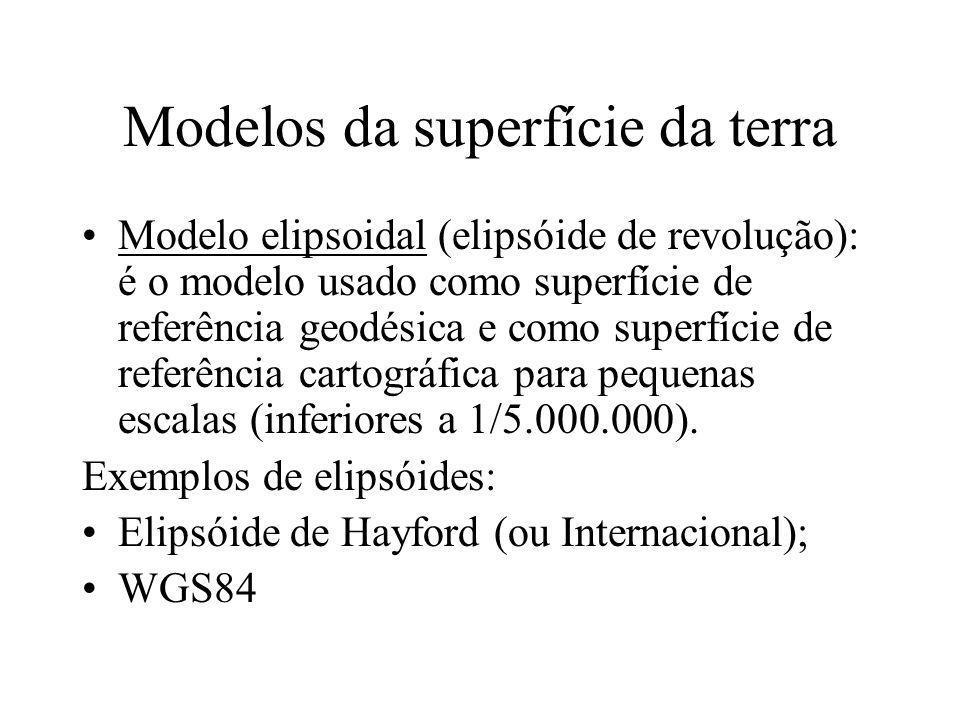 Modelos da superfície da terra Modelo elipsoidal (elipsóide de revolução): é o modelo usado como superfície de referência geodésica e como superfície