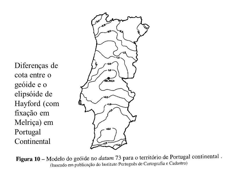 Diferenças de cota entre o geóide e o elipsóide de Hayford (com fixação em Melriça) em Portugal Continental
