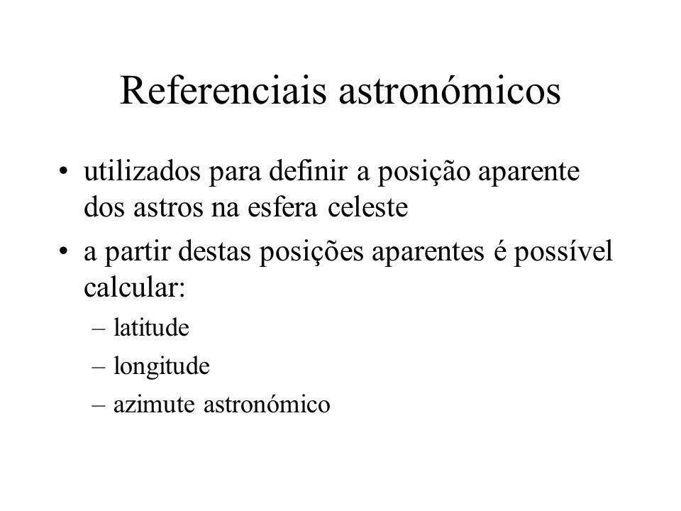 Referenciais astronómicos utilizados para definir a posição aparente dos astros na esfera celeste a partir destas posições aparentes é possível calcul