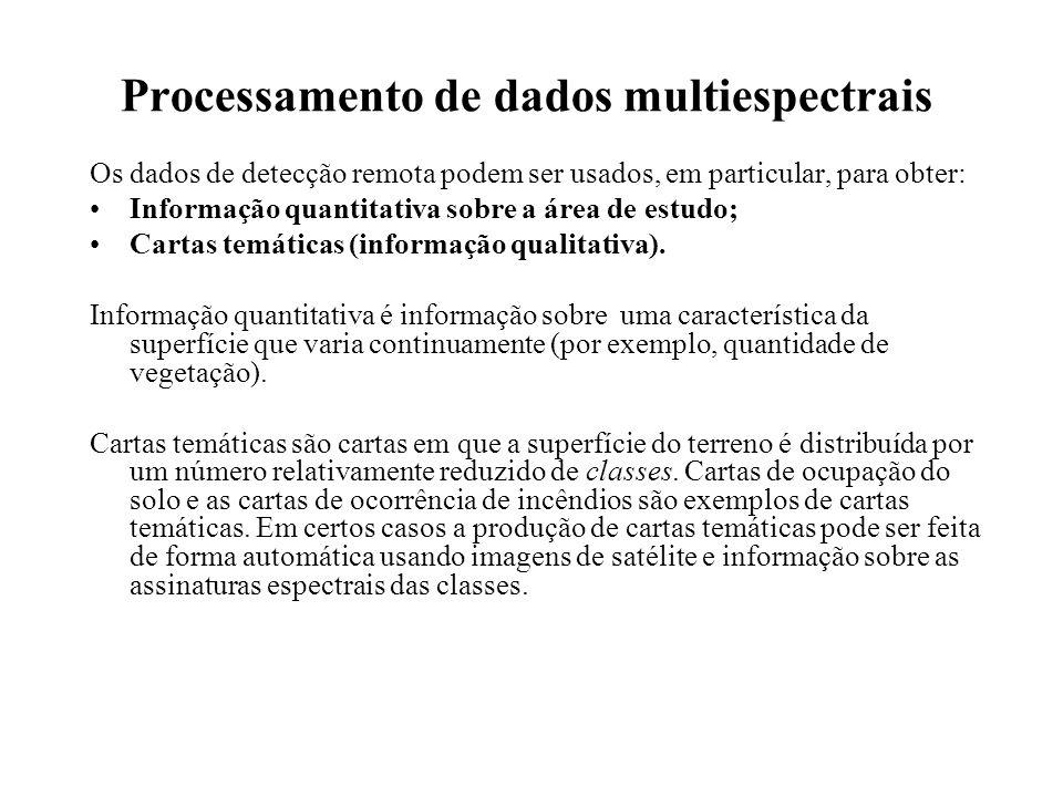 Processamento de dados multiespectrais Os dados de detecção remota podem ser usados, em particular, para obter: Informação quantitativa sobre a área d