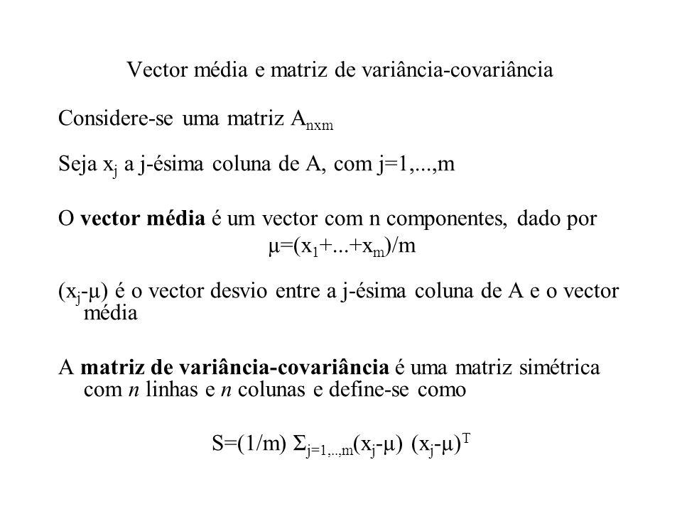 Vector média e matriz de variância-covariância Considere-se uma matriz A nxm Seja x j a j-ésima coluna de A, com j=1,...,m O vector média é um vector