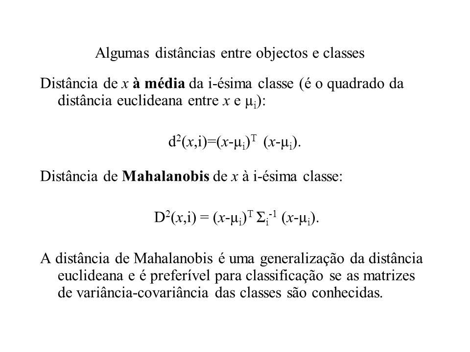 Algumas distâncias entre objectos e classes Distância de x à média da i-ésima classe (é o quadrado da distância euclideana entre x e µ i ): d 2 (x,i)=