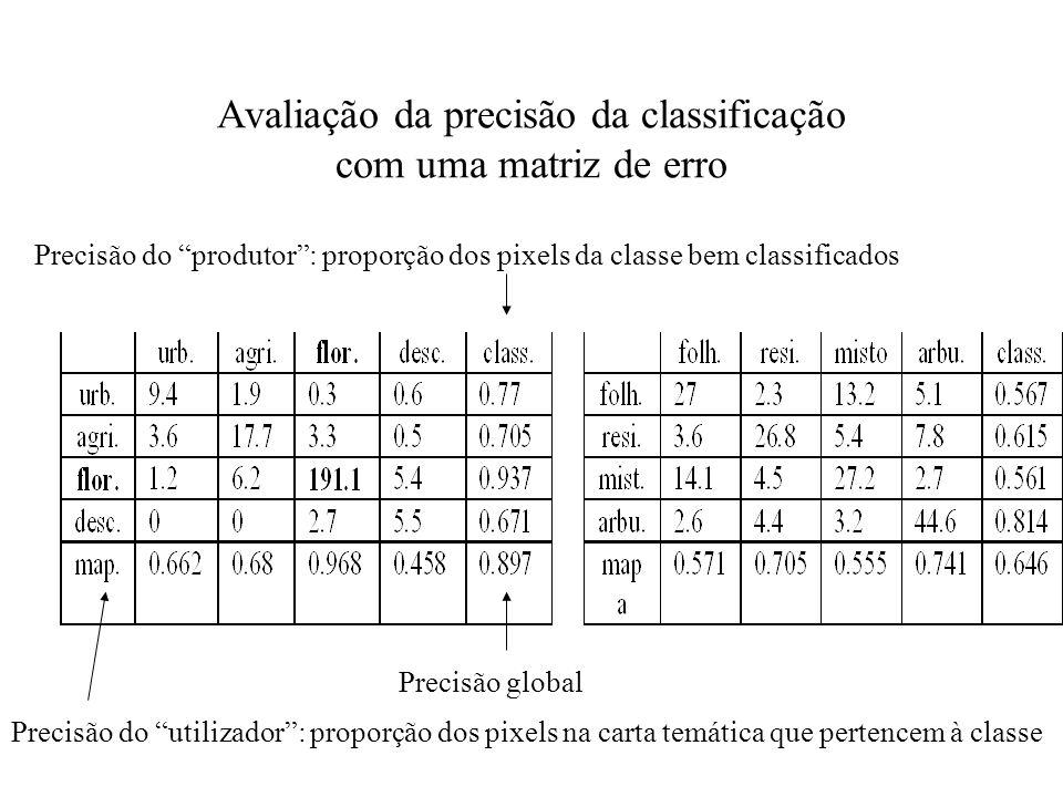 Avaliação da precisão da classificação com uma matriz de erro Precisão do produtor: proporção dos pixels da classe bem classificados Precisão do utili