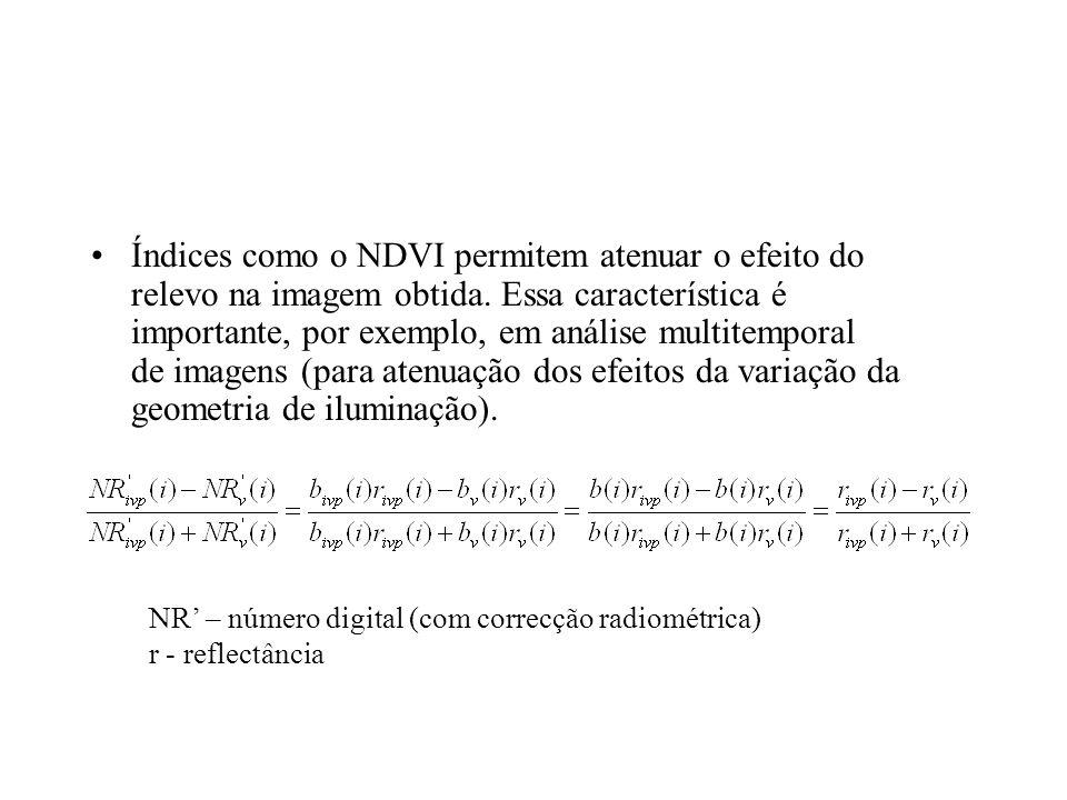 Índices como o NDVI permitem atenuar o efeito do relevo na imagem obtida. Essa característica é importante, por exemplo, em análise multitemporal de i