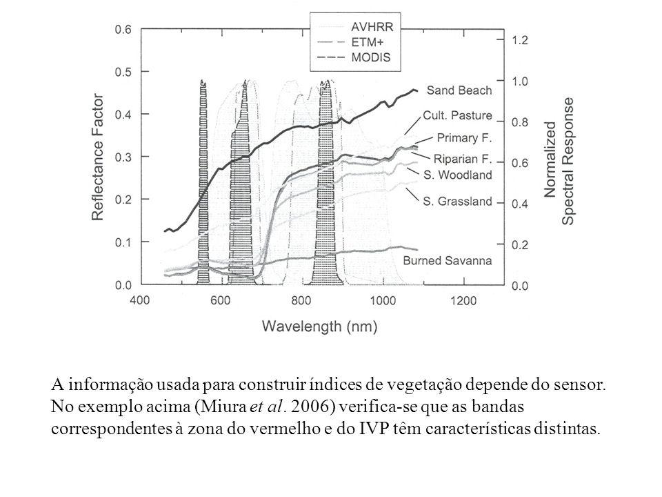 A informação usada para construir índices de vegetação depende do sensor. No exemplo acima (Miura et al. 2006) verifica-se que as bandas correspondent
