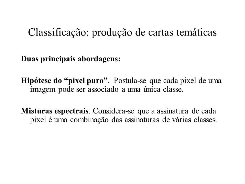Classificação: produção de cartas temáticas Duas principais abordagens: Hipótese do pixel puro. Postula-se que cada pixel de uma imagem pode ser assoc
