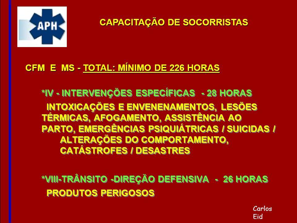 *IV - INTERVENÇÕES ESPECÍFICAS - 28 HORAS INTOXICAÇÕES E ENVENENAMENTOS, LESÕES TÉRMICAS, AFOGAMENTO, ASSISTÊNCIA AO PARTO, EMERGÊNCIAS PSIQUIÁTRICAS
