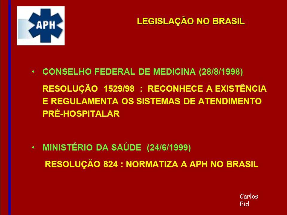 CONSELHO FEDERAL DE MEDICINA (28/8/1998) RESOLUÇÃO 1529/98 : RECONHECE A EXISTÊNCIA E REGULAMENTA OS SISTEMAS DE ATENDIMENTO PRÉ-HOSPITALAR MINISTÉRIO