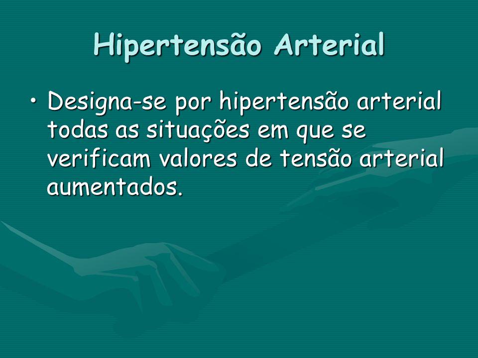 Hipertensão Arterial Designa-se por hipertensão arterial todas as situações em que se verificam valores de tensão arterial aumentados.Designa-se por h