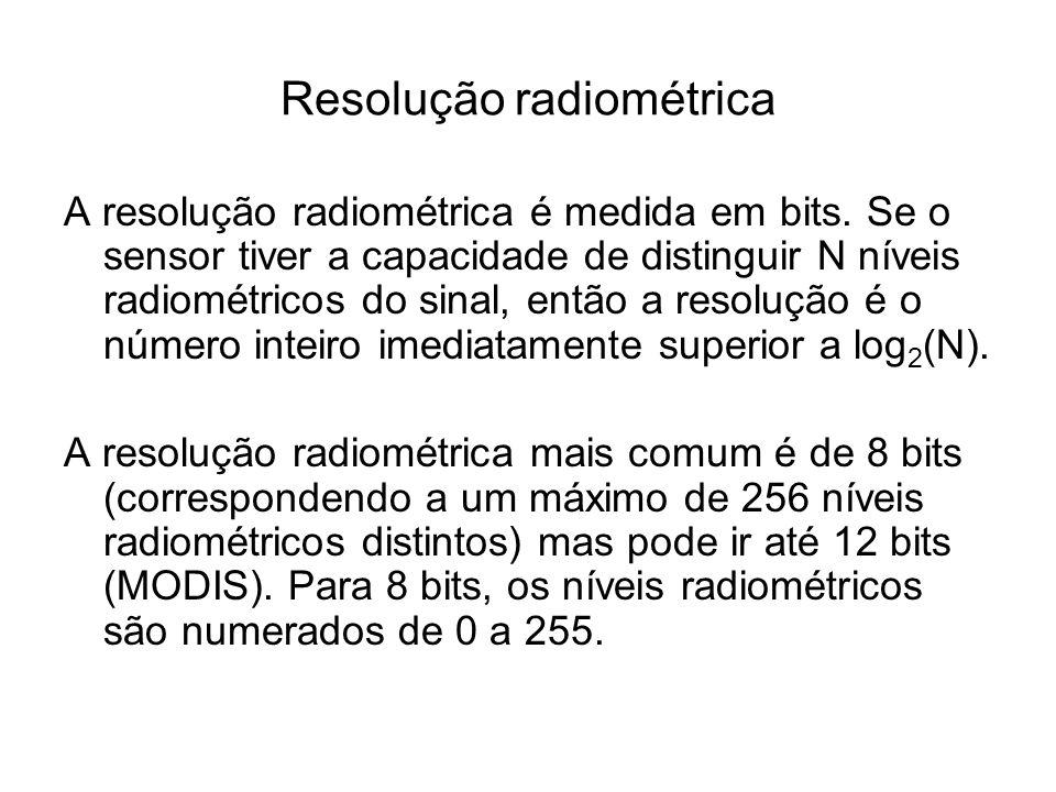 Resolução radiométrica A resolução radiométrica é medida em bits. Se o sensor tiver a capacidade de distinguir N níveis radiométricos do sinal, então