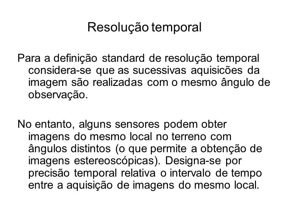 Resolução temporal Para a definição standard de resolução temporal considera-se que as sucessivas aquisicões da imagem são realizadas com o mesmo ângu