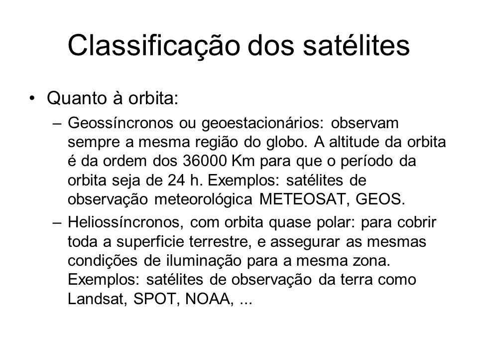 Classificação dos satélites Quanto à orbita: –Geossíncronos ou geoestacionários: observam sempre a mesma região do globo. A altitude da orbita é da or