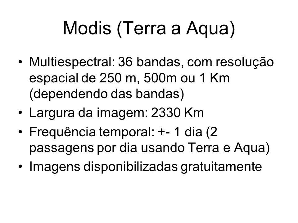 Modis (Terra a Aqua) Multiespectral: 36 bandas, com resolução espacial de 250 m, 500m ou 1 Km (dependendo das bandas) Largura da imagem: 2330 Km Frequ