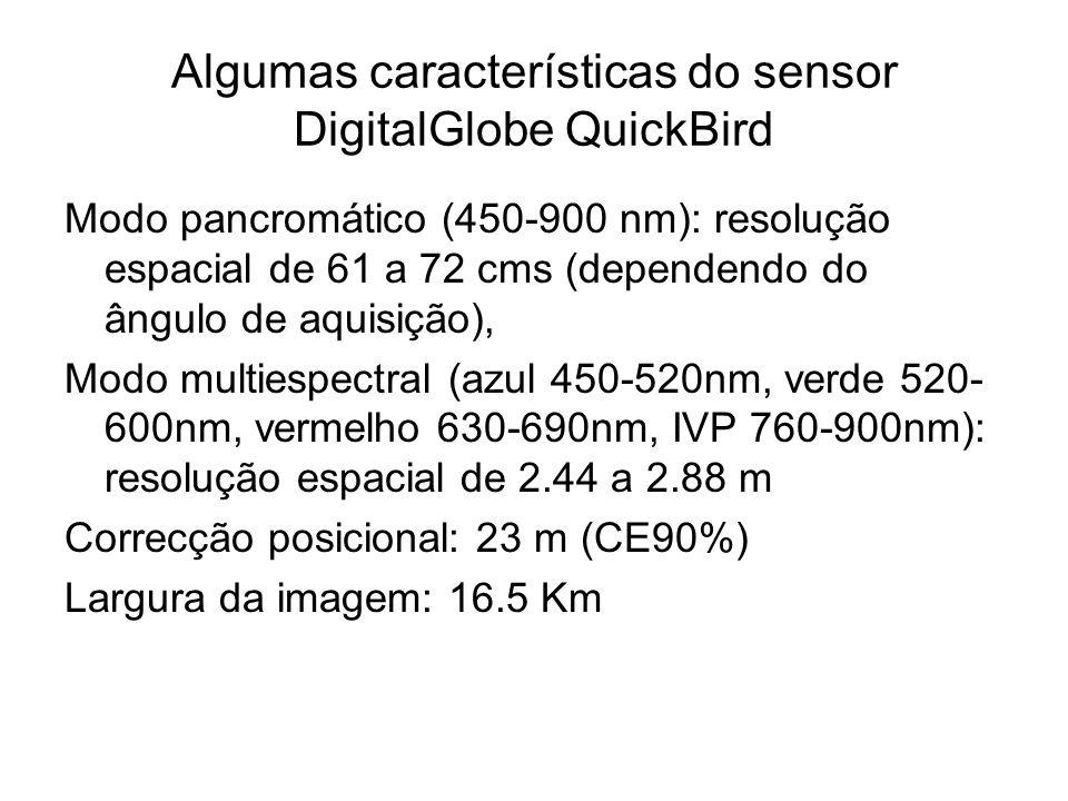 Algumas características do sensor DigitalGlobe QuickBird Modo pancromático (450-900 nm): resolução espacial de 61 a 72 cms (dependendo do ângulo de aq