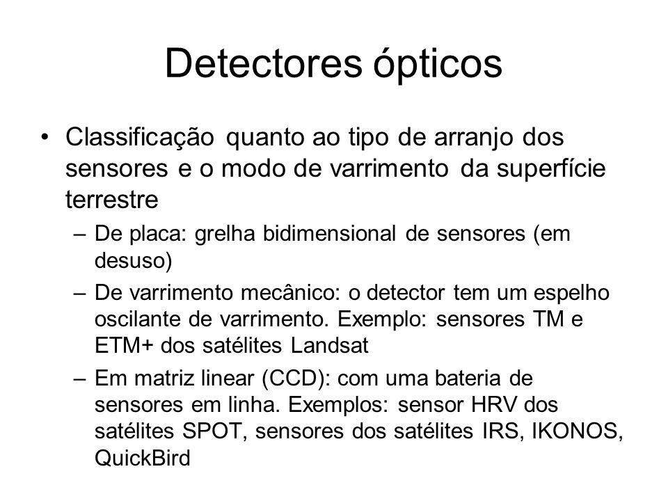 Detectores ópticos Classificação quanto ao tipo de arranjo dos sensores e o modo de varrimento da superfície terrestre –De placa: grelha bidimensional