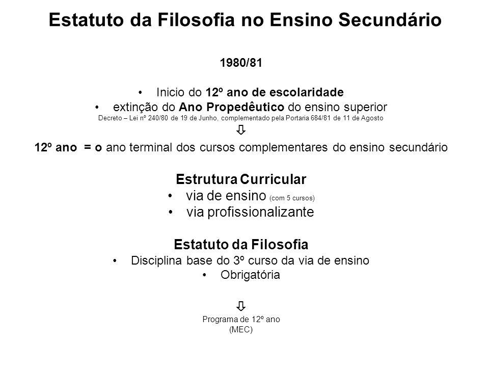 Estatuto da Filosofia no Ensino Secundário 1980/81 Inicio do 12º ano de escolaridade extinção do Ano Propedêutico do ensino superior Decreto – Lei nº