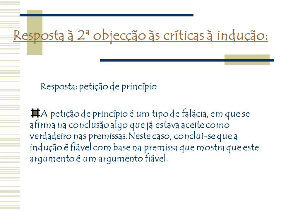 Resposta à 2ª objecção às críticas à indução: A petição de princípio é um tipo de falácia, em que se afirma na conclusão algo que já estava aceite com