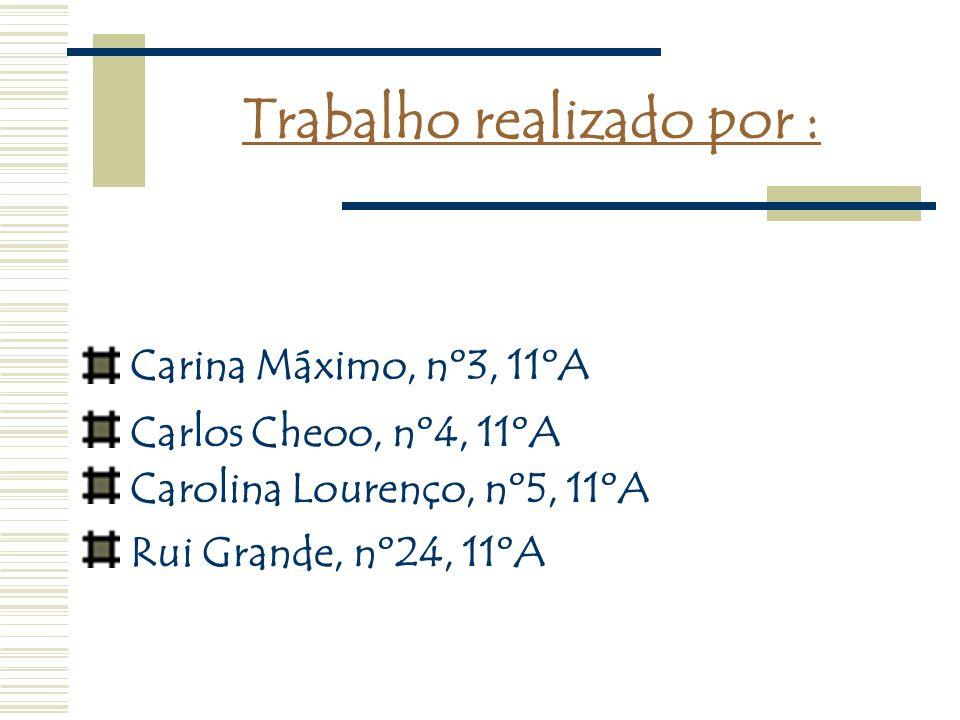 Trabalho realizado por : Carina Máximo, nº3, 11ºA Carlos Cheoo, nº4, 11ºA Carolina Lourenço, nº5, 11ºA Rui Grande, nº24, 11ºA