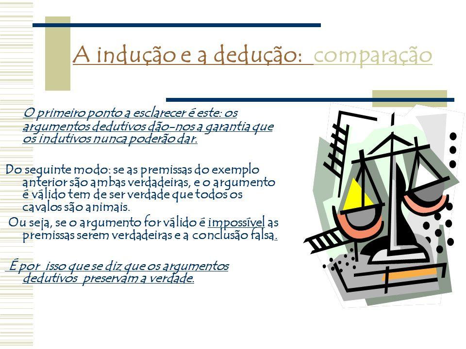 A indução e a dedução: comparação O primeiro ponto a esclarecer é este: os argumentos dedutivos dão-nos a garantia que os indutivos nunca poderão dar.