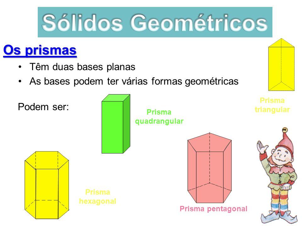 Os prismas Têm duas bases planas As bases podem ter várias formas geométricas Podem ser: Prisma hexagonal Prisma pentagonal Prisma quadrangular Prisma