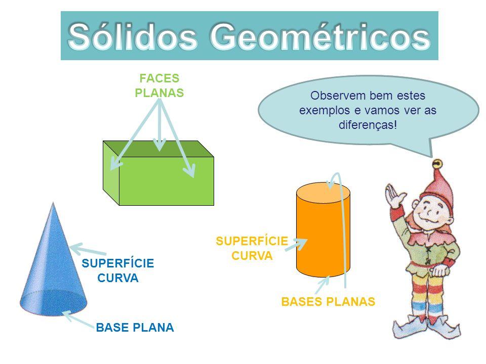 Será que todos os sólidos têm vértices? Observem bem estes exemplos e vamos ver as diferenças! FACES PLANAS BASE PLANA SUPERFÍCIE CURVA BASES PLANAS S