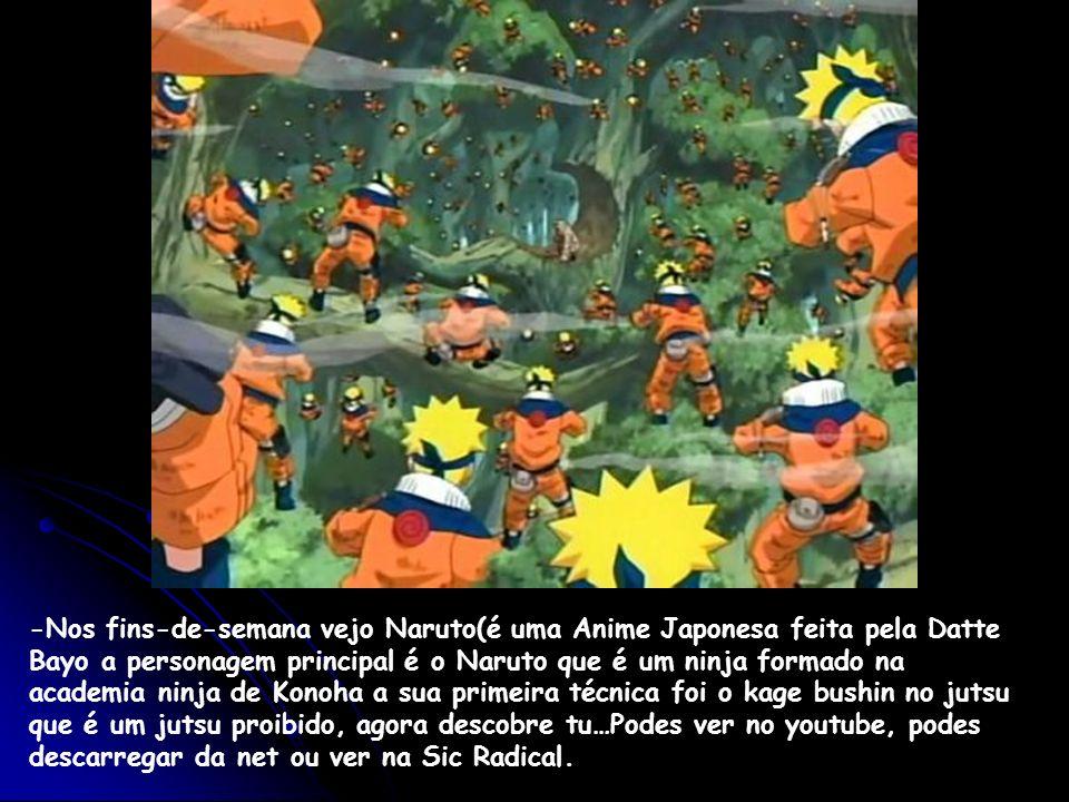 -Nos fins-de-semana vejo Naruto(é uma Anime Japonesa feita pela Datte Bayo a personagem principal é o Naruto que é um ninja formado na academia ninja
