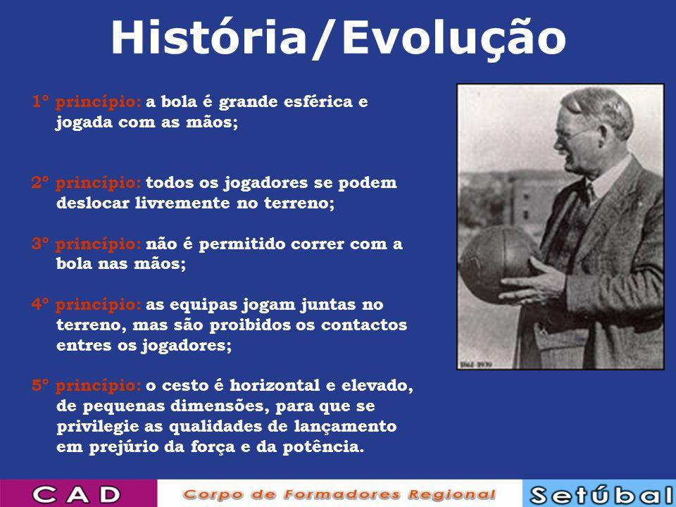 História/Evolução 1º princípio: a bola é grande esférica e jogada com as mãos; 2º princípio: todos os jogadores se podem deslocar livremente no terren
