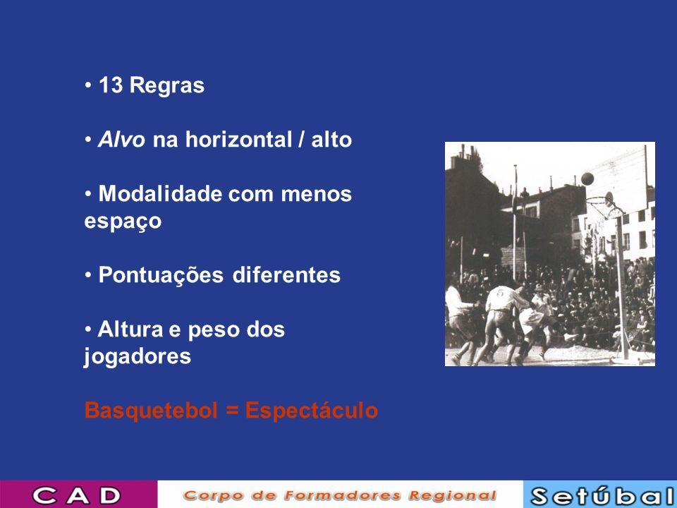13 Regras Alvo na horizontal / alto Modalidade com menos espaço Pontuações diferentes Altura e peso dos jogadores Basquetebol = Espectáculo